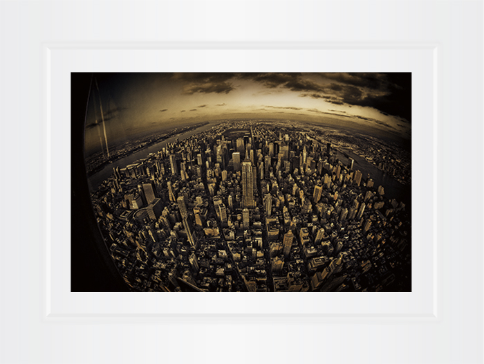 New York Notecard Aerial View Midtown With Empire State Building Fisheye Photo © Konstantino Hatzisarros 2013