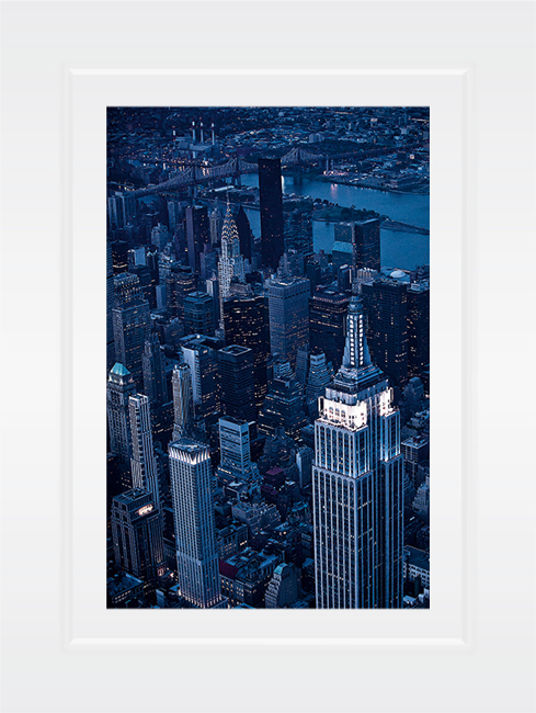 New York Notecard Aerial View Midtown With Empire State Building And Chrysler Building At Night Photo © Konstantino Hatzisarros 2013