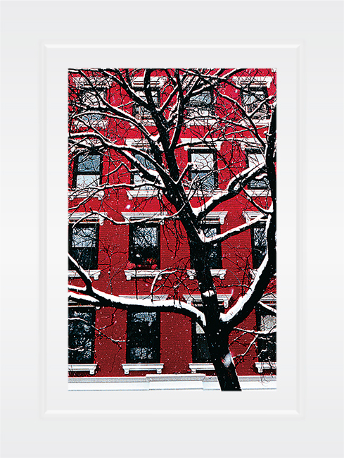 New York Notecard Red Building in  Winter Snow Photo © Konstantino Hatzisarros 2013