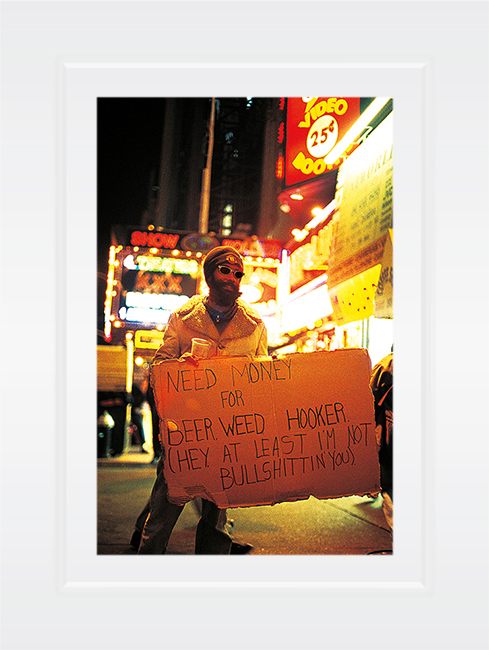 New York Notecard Time Square Beggar-with Funny Sign Photo © Konstantino Hatzisarros 2013