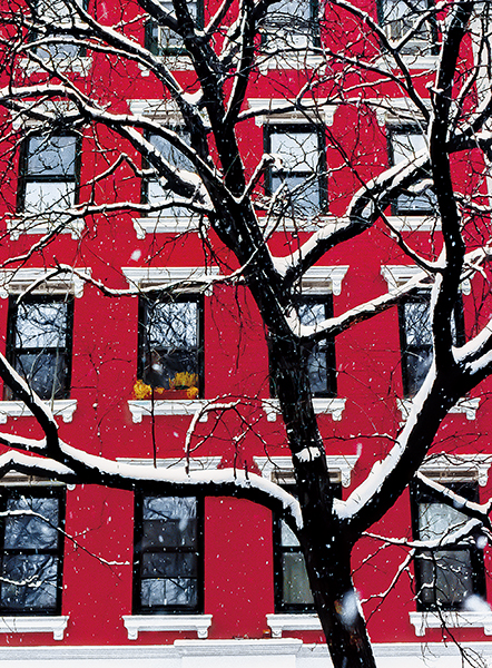 Red Building in Snow Photo New York Holiday Card © konstantino hatzisarros 2013