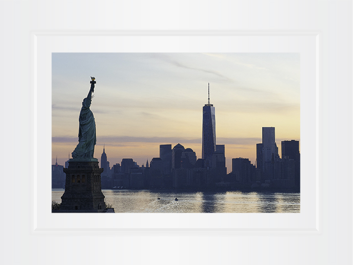 Statue Of Liberty With Manhattan Skyline And Freedom Tower At Sunrise New York Notecard